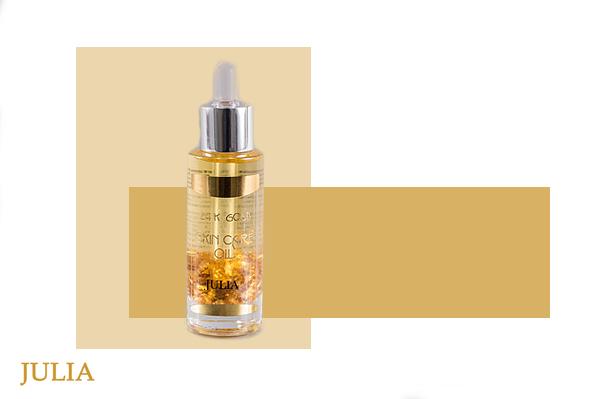84bb4371fa74 Julia Masszázsolaj - 24 karátos tisztaságú aranylemezkékkel, szezám-kókusz  olajjal | SPG-002